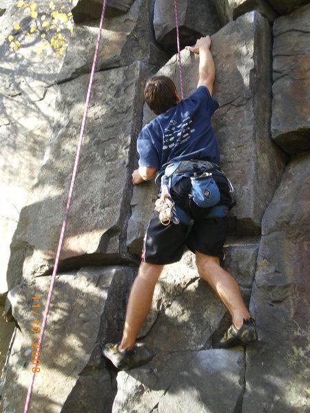 Rock Climbing Photo: Pete cranking hard on Hamburger Crack