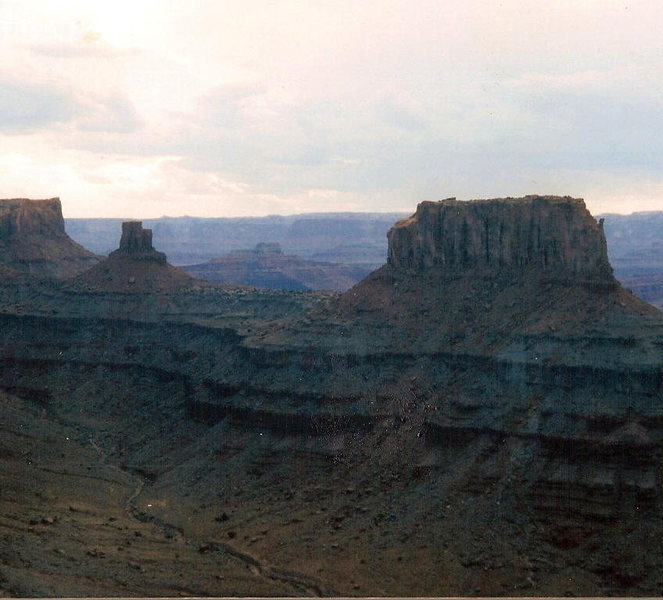 Rock Climbing Photo: Carousel Butte on the right, and Solstice Tower in...
