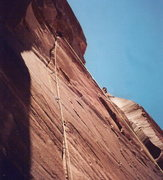 Rock Climbing Photo: Ted Rummings leading about 100' up the first pitch...