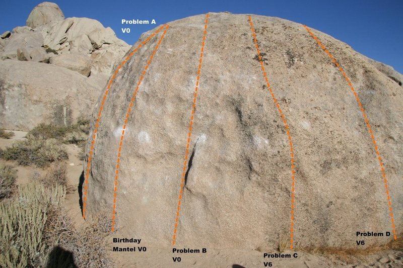 Birthday Boulder West Face Topo
