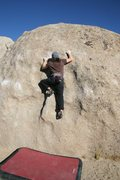 Rock Climbing Photo: Finishing the crux and getting onto the easier sla...