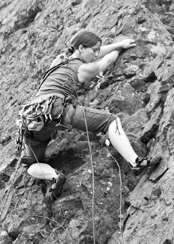 Me leading something easy (5.9 or something) at Deep Creek to the west of the Pit.