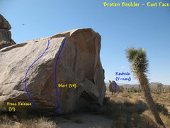 Rock Climbing Photo: Broken Boulder (E. Face) topo, JTNP.