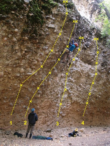 Rock Climbing Photo: The Pipeline 1. Crap-O 5.11d 2. The Angry Inch 5.1...