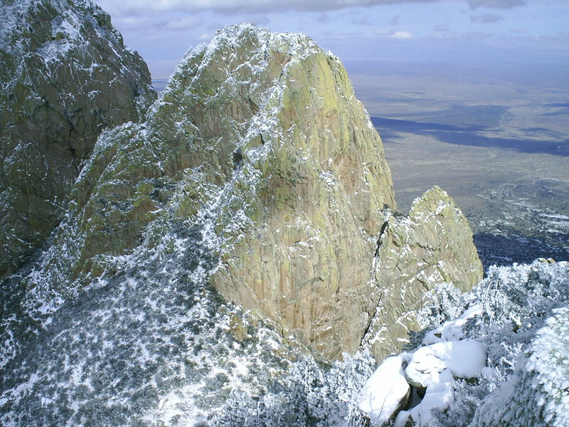 Rock Climbing Photo: South Rabbit Ear as viewed from the summit of the ...