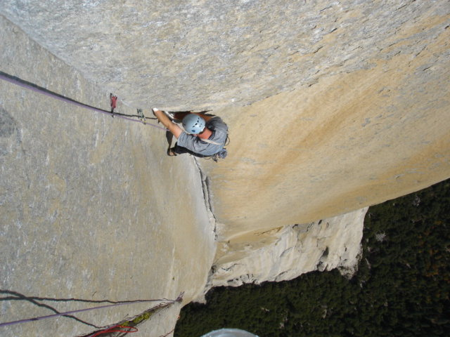 Dave Russell following pitch 28 on Freerider, Yosemite Valley, CA