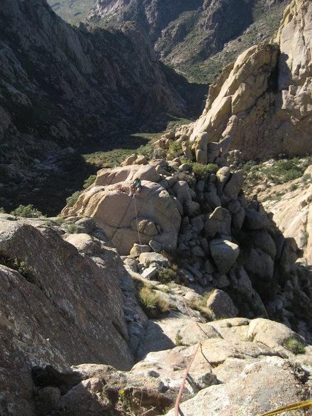 Ross Allen on the shoulder 200 ft below the summit.