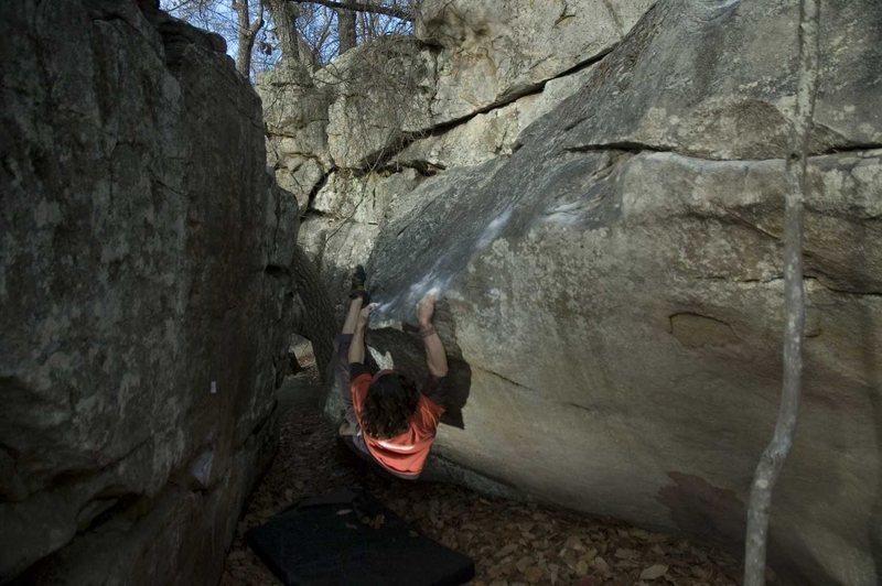 Rock Climbing Photo: Adrian working Swirls