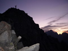 Rock Climbing Photo: Summit of Temple at dusk. Whipping winds, bright s...
