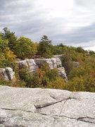 Rock Climbing Photo: Looking at rap station above Psycho Crack.