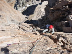 Rock Climbing Photo: Kristen Tompeck climbing to the summit of the pinn...