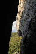 Rock Climbing Photo: Looking out of the Lemon Squeeze below Skytop.