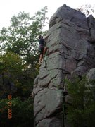 Rock Climbing Photo: Jon climbs the upper moves of King's Throne on lea...