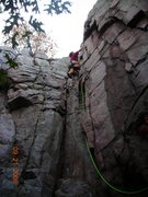 Rock Climbing Photo: Minnie Mum from below with Kendra on the lead.  I ...