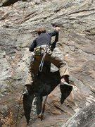 Rock Climbing Photo: Harald on Upper level on Goat Rock. 5.10.