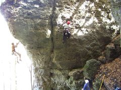 Rock Climbing Photo: While Skeletor is top roped, Flash gets hang dogge...