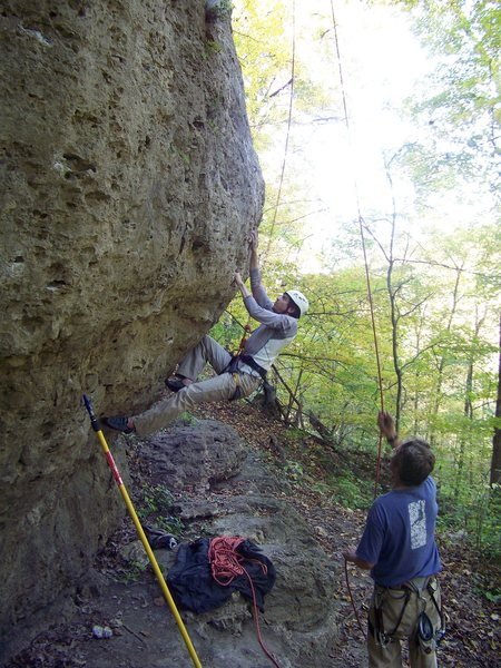 Rock Climbing Photo: Pulling the bulge at the start of Atropine.