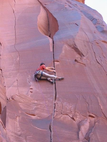 Rock Climbing Photo: Mark Ferguson on skinwalker.  Photo by Bob Rotert.