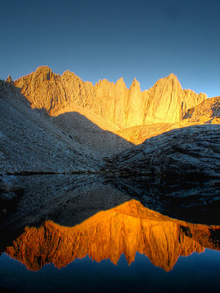 Mt. Whitney and Keeler in the alpine glow. August '03.