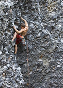 Rock Climbing Photo: Curtis on the crux of The Roach (11a)