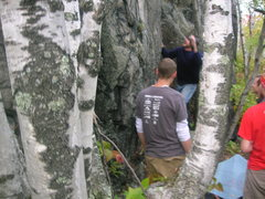 Rock Climbing Photo: Chris throwing for the top on the FA.  Photo credi...