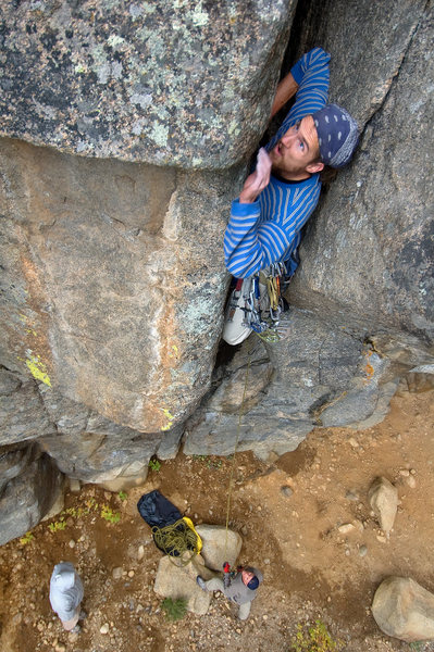 Rock Climbing Photo: Joshua Merriam leading The By Gully.