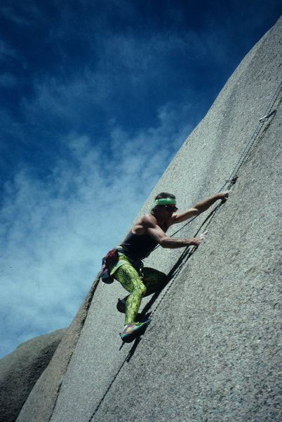 Rock Climbing Photo: Hubbel on a crack in the South Platte many years a...