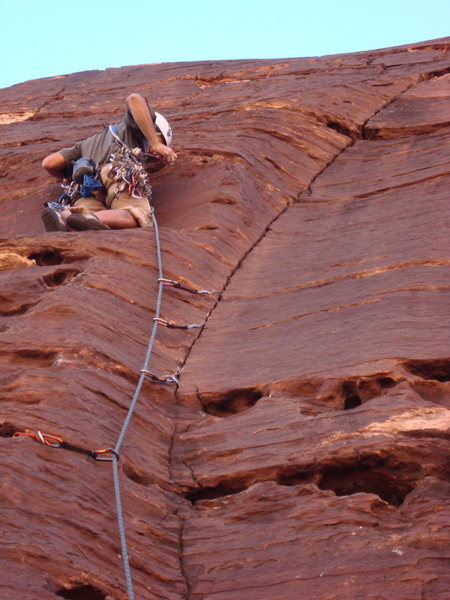 Rock Climbing Photo: Excellent route on black varnished rock. Well prot...