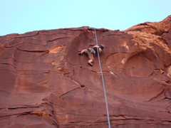 Rock Climbing Photo: Anne high stepping on winter heat.  Fantastic rout...