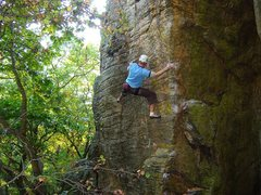 Rock Climbing Photo: Moving up from the bad left hand sidepull to the g...
