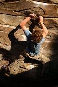 Rock Climbing Photo: Pulling through Orange Slice