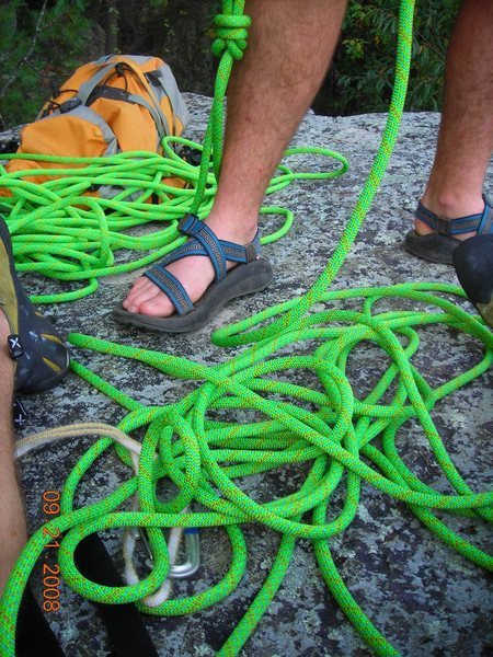 "Rock Climbing Photo: That ""loud"" rope, pack, and feet."