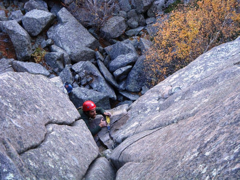 Rock Climbing Photo: Allen Ange emerges from the storm on the first pit...