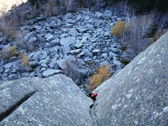 Rock Climbing Photo: Allen working his way up the upper dihedral on the...