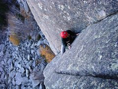 Rock Climbing Photo: Allen navigates more weather on the first pitch of...