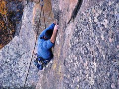 Rock Climbing Photo: Shannon Twomey commits to the beginning of the 30'...