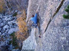 Rock Climbing Photo: 2ME finds the right combo of moves as he sets up f...