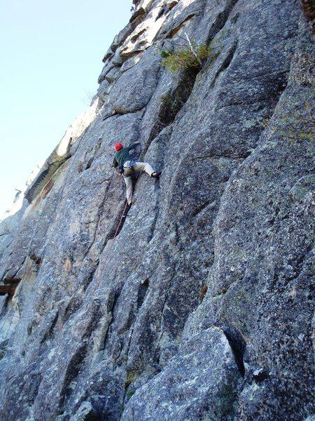 Rock Climbing Photo: Allen is set up to crux.
