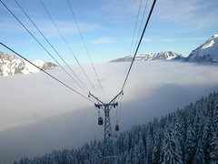 Rock Climbing Photo: Out of the soup! In the gondola heading up to the ...