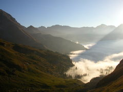 Rock Climbing Photo: The view from Ofen down into the cloud-covered Mel...