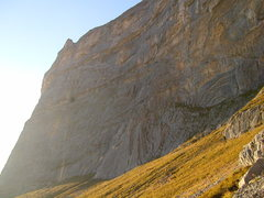 Rock Climbing Photo: View of the main wall in the early evening.