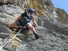Rock Climbing Photo: Pitch two: the crux is a few meters up on the righ...