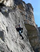 Rock Climbing Photo: fourth pitch: superb, compact rock on the new vari...