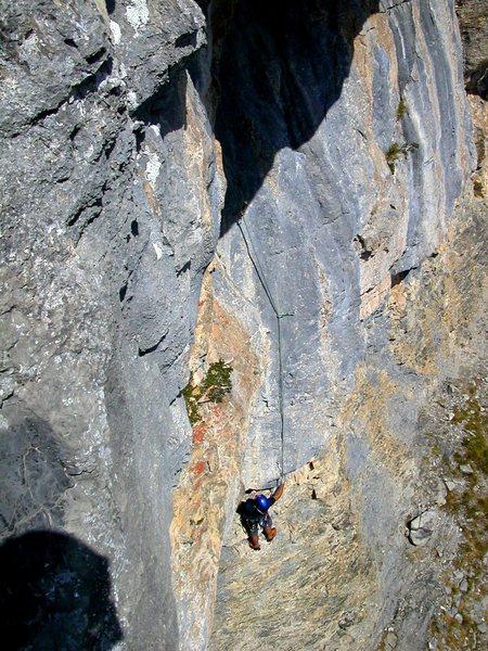 Rock Climbing Photo: Pitch six: Daniele H working up the steep stuff un...