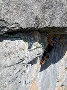 Rock Climbing Photo: Pitch six: Daniele H hand traversing his way out f...