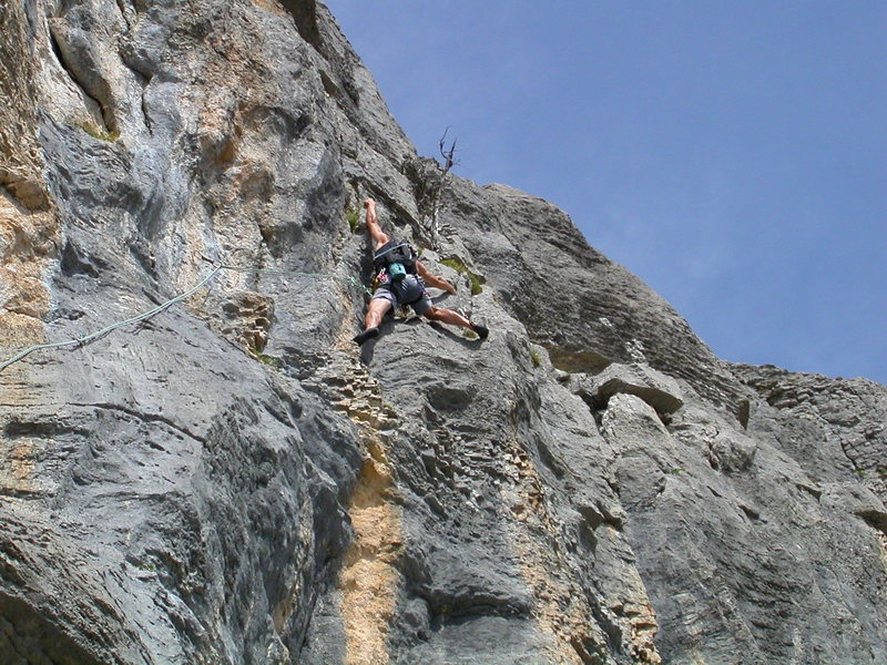 Rock Climbing Photo: Pitch seven: Wicked rock to finish the route.