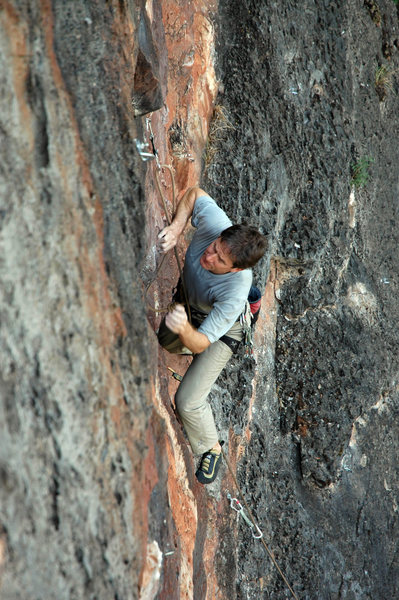 Rock Climbing Photo: Bob Moseley starting up Light Rain, Rainbow Wall.
