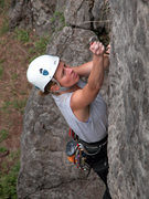 Rock Climbing Photo: Renee Mullen clipping CS Game, the upper end of Lo...