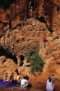 Rock Climbing Photo: Chong below the cruxy upper section of Goat Inside...