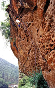 Rock Climbing Photo: Xiang on the steep upper section of Goat Inside, a...